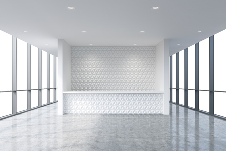 company premises: A reception area in a modern bright clean office interior. Huge panoramic windows with white copy space. A concept of boutique consulting services. 3D rendering.