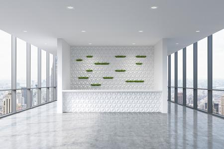recepcion: Un área de recepción en un moderno y luminoso interior de la oficina limpia. Grandes ventanas panorámicas con vistas de Nueva York. Un concepto de servicios de consultoría boutique. Representación 3D. Foto de archivo