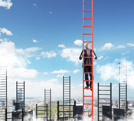climbing ladder: A concept of competition, and problem solving. A businessman choses the right ladder to achieve the success in career. New York city view.