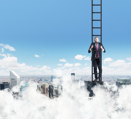 climbing ladder: A businessman is climbing up the ladder. Clouds and New York view. The concept of the success. Stock Photo