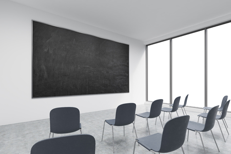 A Classroom Or Presentation Room In A Modern University Of Fancy Office.  Black Chairs,