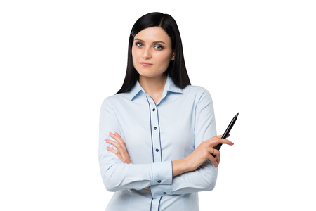 expectant arms: Front view of a woman with crossed hands and a felt marker. Isolated on white background.