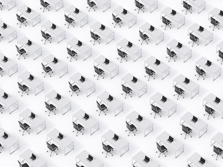 transnational: A top view of the symmetric corporate workplaces on white floor. A concept of corporate life in a huge transnational company. Black leather chairs, white tables and modern laptops. 3D rendering. Stock Photo