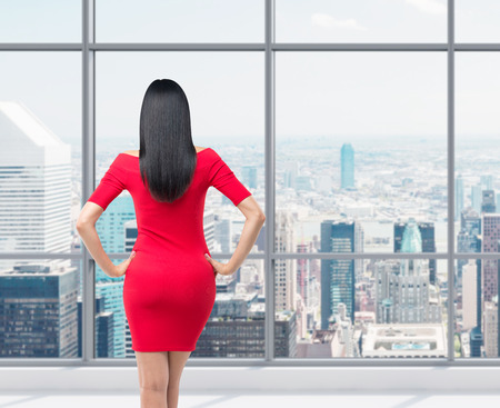 metropolis: Rear view of gorgeous brunette in red dress posing on the modern panoramic office in New York City. Stock Photo