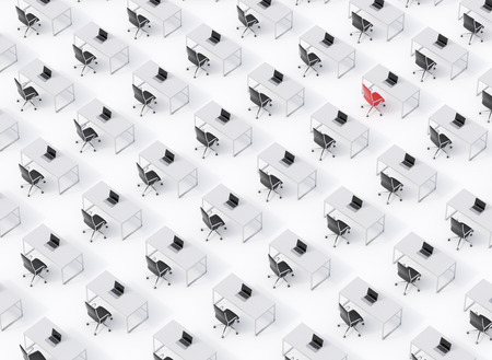 computers office: A top view of the symmetric corporate workplaces on white floor. A concept of corporate life. Black leather chairs, white tables and modern laptops. One chair is a red. 3D rendering. Stock Photo