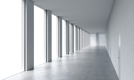 legal services: Empty modern bright clean interior of an open space office. Huge panoramic windows with white copy space and white walls. A concept of luxury space for legal services. 3D rendering. Stock Photo