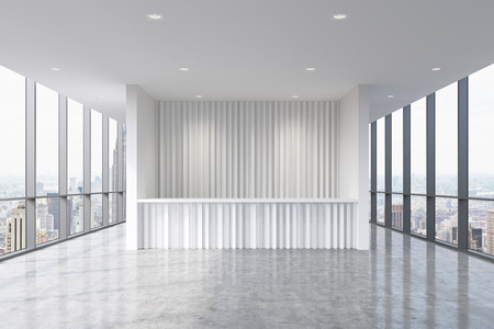 company premises: A reception area in a modern bright clean office interior. Huge panoramic windows with New York view. A concept of boutique consulting services. 3D rendering. Stock Photo