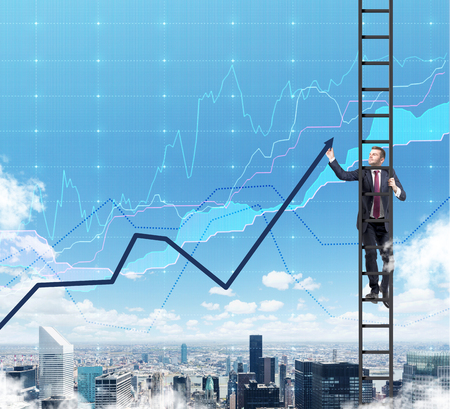 corporate ladder: A businessman in a ladder is drawing a line chart as a summation of the finance tendencies. A finance charts are over New York city in the air.