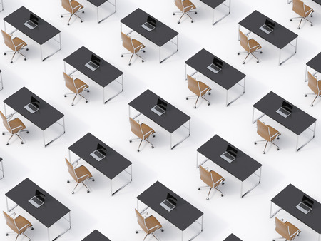 transnational: A top view of the symmetric corporate workplaces on white floor. A concept of corporate life in a huge transnational company. Brown leather chairs, black tables and modern laptops. 3D rendering.