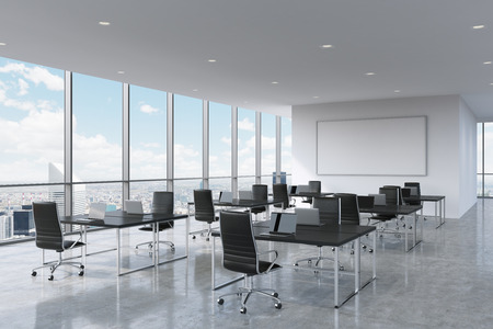 Corporate workplaces equipped by modern laptops in a modern panoramic office in New York City. Black leather chairs and a black tables, a huge whiteboard on the wall. 3D rendering. Stok Fotoğraf - 46535277