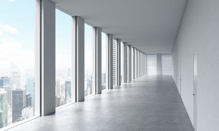 Lege moderne heldere schone interieur van een open ruimte kantoor. Enorme panoramische ramen met uitzicht op New York. Een concept van luxe ruimte voor juridische of vermogensbeheer kantoor. 3D-rendering.