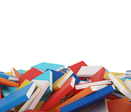tomes: A heap of different books with colorful covers which are laying on the floor. Isolated On White. Stock Photo