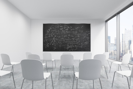 A Classroom Or Presentation Room In A Modern University Or Fancy Office.  White Chairs,