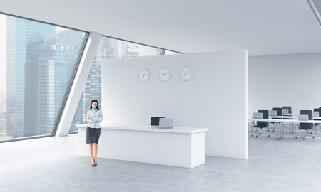partition: A full length of a beautiful receptionist in a bright modern roof loft office with panoramic Singapore view. The concept of luxury consulting services.