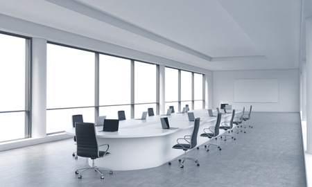 transnational: A bright modern panoramic meeting room in a modern office with white copy space in windows. The concept of the meeting of the Board of Director of the huge transnational corporation. 3D rendering. Stock Photo