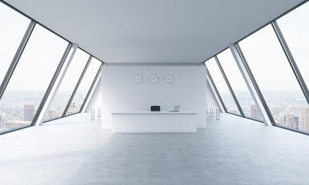recepcion: área de recepción con los relojes y los lugares de trabajo en una oficina loft de espacio abierto moderno y luminoso. mesas blancas. vista panorámica de Nueva York en las ventanas. El concepto de servicios de consultoría de lujo. representación 3D. Foto de archivo