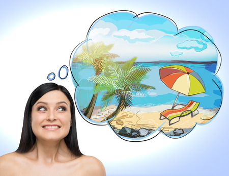 astonishing: A portrait of astonishing brunette woman who dreams about summer vacation on the beach. A nice summer place is drawn in the thought bubble. Light blue background.