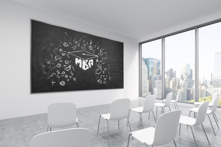 lecture hall: A classroom or presentation room in a modern university or fancy office. White chairs, a black chalkboard on the wall with MBA sketch and panoramic New York view. 3D rendering.