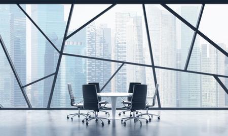 Una sala riunioni in uno spazio ufficio panoramico contemporaneo luminoso con vista sulla città di Singapore. Il concetto di servizi finanziari o legali altamente professionali. Rendering 3D.