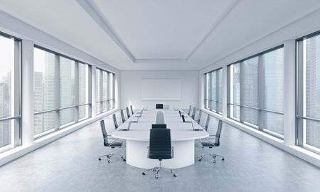 transnational: A bright modern panoramic meeting room in a modern office with Singapore view. The concept of the meeting of the Board of Director of the huge transnational corporation. 3D rendering.