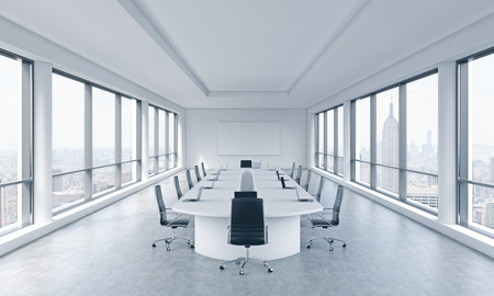 transnational: A bright modern panoramic meeting room in a modern office with New York city view. The concept of the meeting of the Board of Director of the huge transnational corporation. 3D rendering.