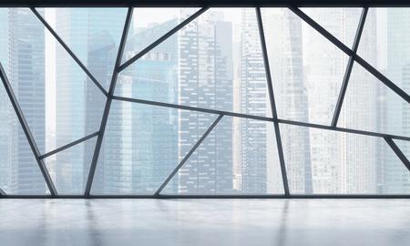 Een helder eigentijds panoramisch lege kantoorruimte met Singapore uitzicht. Het concept van de zeer professionele financiële of juridische diensten. 3D-rendering.