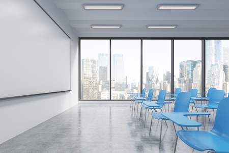 panoramic windows: A classroom or presentation room in a modern university or fancy office. Blue chairs, a whiteboard on the wall and panoramic windows with New York view. 3D rendering.