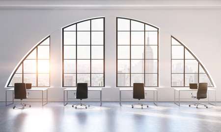 semicircular: Workplaces in a bright modern open space loft office. White tables and black chairs. New York city view. 3D rendering. Toned image.