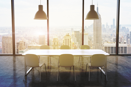 consulting room: A conference room in a modern panoramic office with New York city view. White table, white chairs and two white ceiling lights. 3D rendering. Toned image.