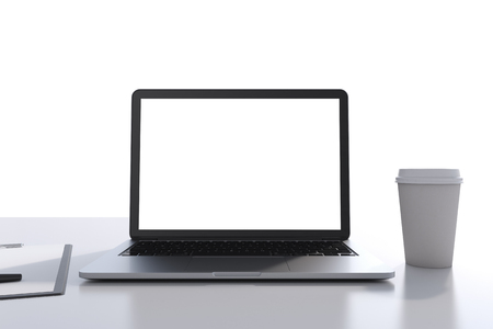 legal pad: There are a laptop with white copy space screen, legal pad and a cup of coffee on the table. A concept of modern workplace. 3D rendering. White background.