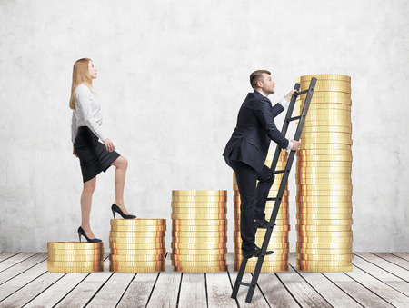 corporate ladder: A woman in formal clothes is going up using a stairs which are made of golden coins, while a man has found a shortcut how to reach the final point. A concept of success. Concrete background.