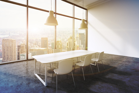 ceiling lamp: A conference room in a modern panoramic office with New York city view. White table, white chairs and two white ceiling lights. 3D rendering. Toned image.