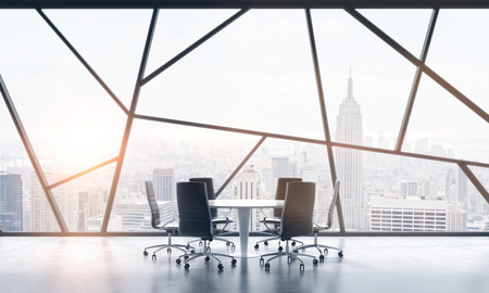 legal services: A meeting room in a bright contemporary panoramic office space with New York city view. The concept of highly professional financial or legal services. 3D rendering. Toned image.