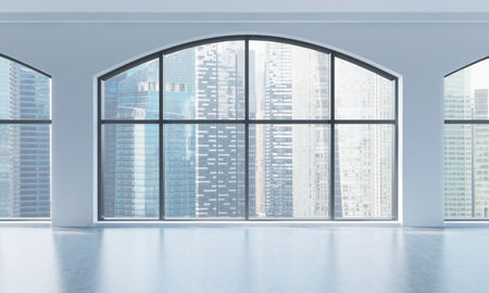 view of an atrium in a building: An empty modern bright and clean loft interior. Huge panoramic windows with Singapore city view. A concept of luxury open space for commercial or residential purposes. 3D rendering.