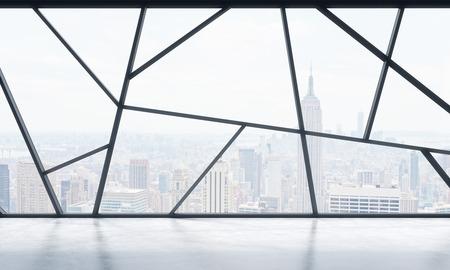 Een helder eigentijds panoramisch lege kantoorruimte met New York uitzicht. Het concept van de zeer professionele financiële of juridische diensten. 3D-rendering. Stockfoto