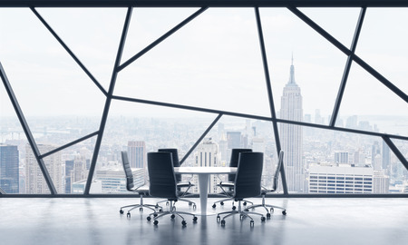 legal services: A meeting room in a bright contemporary panoramic office space with New York city view. The concept of highly professional financial or legal services. 3D rendering.