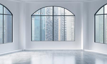 Een lege moderne lichte en schone loft interieur. Singapore uitzicht op de stad. Een concept van luxe open ruimte voor commerciële doeleinden of voor woningbouw. 3D-rendering.