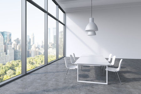 architectural firm: A conference room in a modern panoramic office with New York city view. White table, white chairs and two white ceiling lights. 3D rendering.