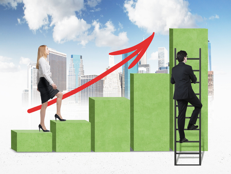 advisers: A woman in formal clothes is going up through a green bar chart, while a man has found a shortcut how to reach the final point of the bar chart. Sketch of New York and cloudy sky on background.