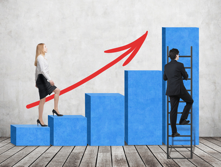 business performance: A woman in formal clothes is going up through a blue bar chart, while a man has found a shortcut how to reach the final point of the bar chart. A concept of success. Concrete wall and wooden floor.