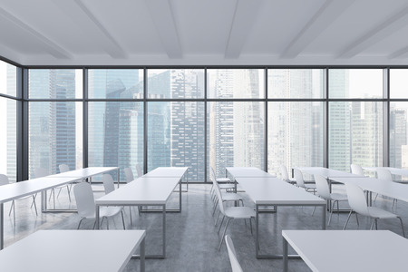 architectural studies: A modern panoramic classroom with Singapore view. White tables and white chairs. 3D rendering.