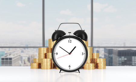 streamlining: An alarm clock is on the foreground and golden coins which are on the background.Modern NY panoramic office on background. A concept of time management in working process. 3D rendering.
