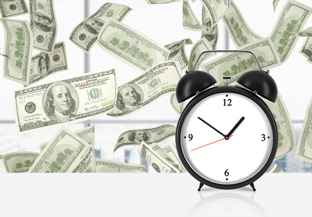 streamlining: An alarm clock is on the table. Falling dollar notes on background. The concept of time is money and a time management.