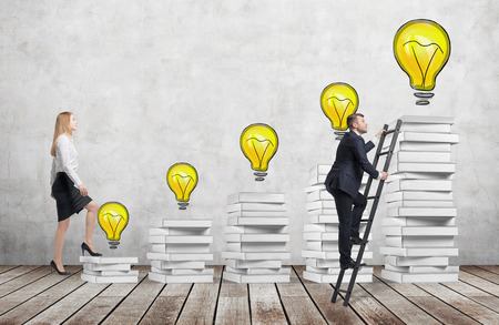 concrete stairs: A woman is going up using a stairs which are made of white books to reach graduation hat while a man has found a shortcut to get education. Yellow lightbulbs are drawn on the concrete wall.