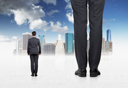 overpowering: Rear view of two professionals in suites who are going to the sketched New York city. Stock Photo