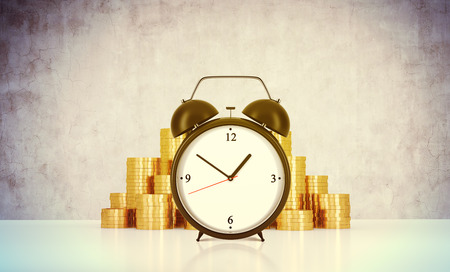 streamlining: An alarm clock and golden coins are on the table in a room with concrete wall. A concept of time management or billing the services in consulting companies. 3D rendering. Toned image. Stock Photo