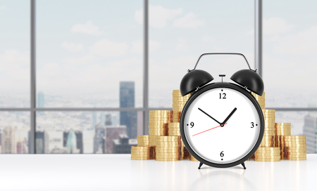 streamlining: An alarm clock is on the foreground and golden coins which are on the background. Modern New York panoramic office on background. A concept of time management in working process. 3D rendering.