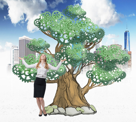 astonishing: Astonishing lady in formal clothes with hands up. There is a drawn tree on the sketched New York city background. A concept of successful business project. Stock Photo