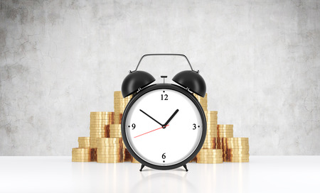 streamlining: An alarm clock is on the foreground and golden coins which are on the background.A concrete wall. A concept of time management or billing services in legal or consulting company. 3D rendering.