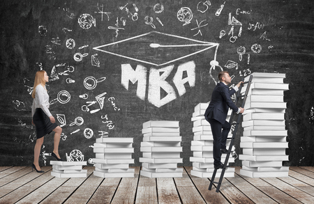 shortcut: A woman is going up using a stairs which are made of white books to reach graduation hat, while a man has found a shortcut to get MBA degree. A black chalkboard with the written word MBA.